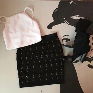 Do & Be | Black Studded Mini Skirt